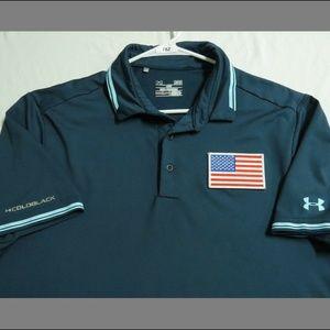 Sz L Under Armour HEAT-GEAR Usa Men #78Z Golf Polo